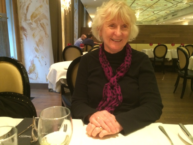Mom at dinner at Demetra Art Hotel