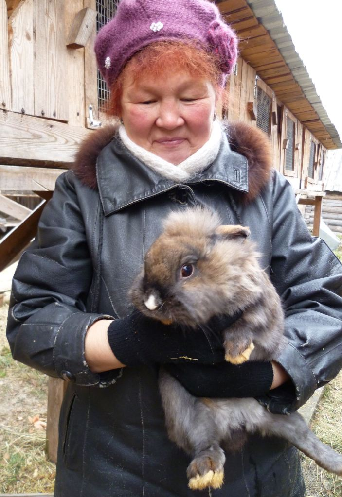 farmer with rabbit
