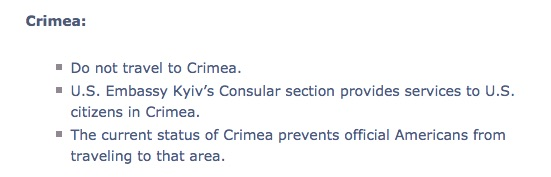 no travel to Crimea